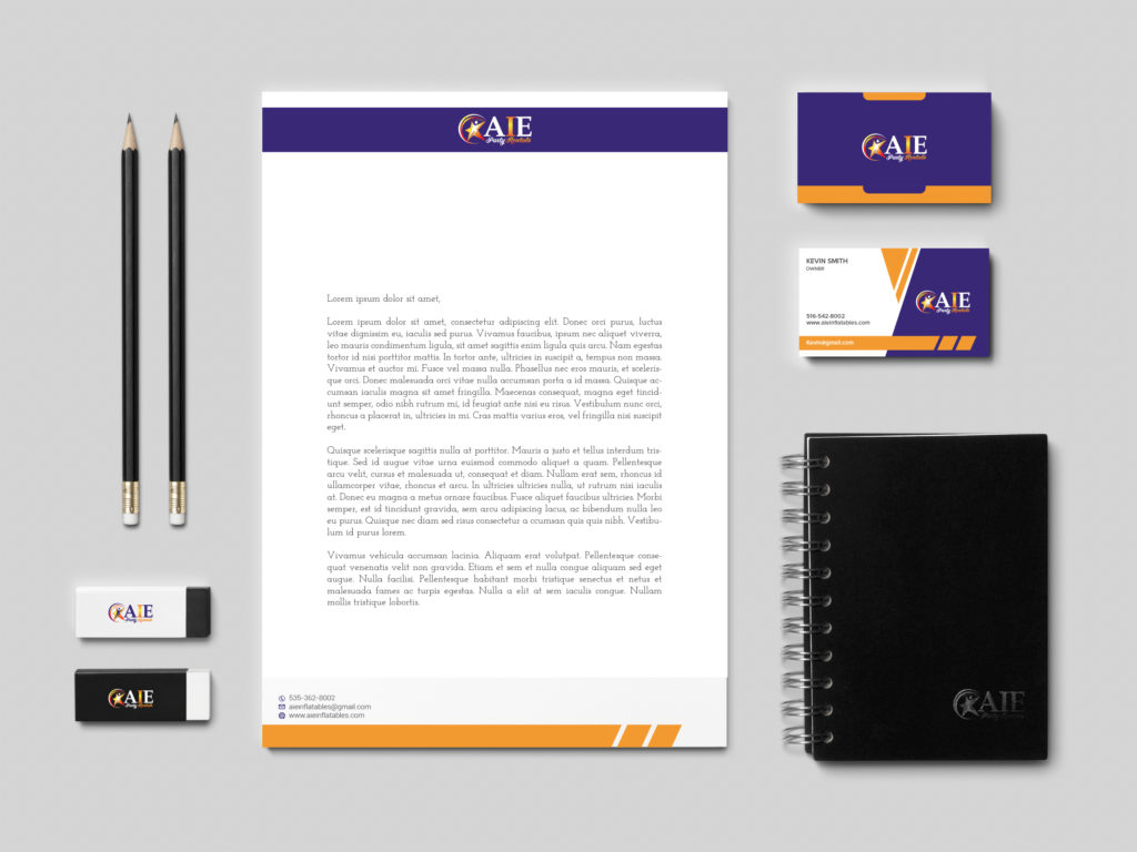 Stationery Design Template for AIE Party Rentals