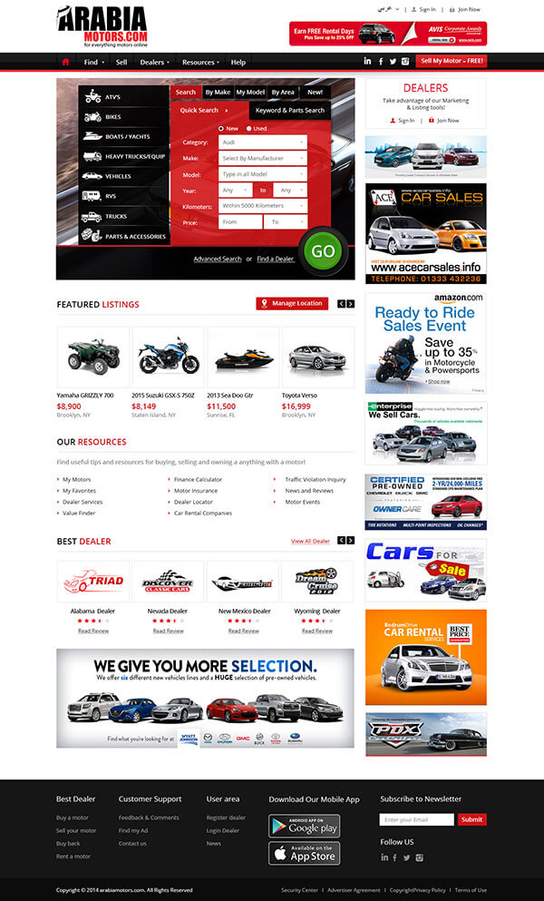 Custom Website Design for Arabia Motors
