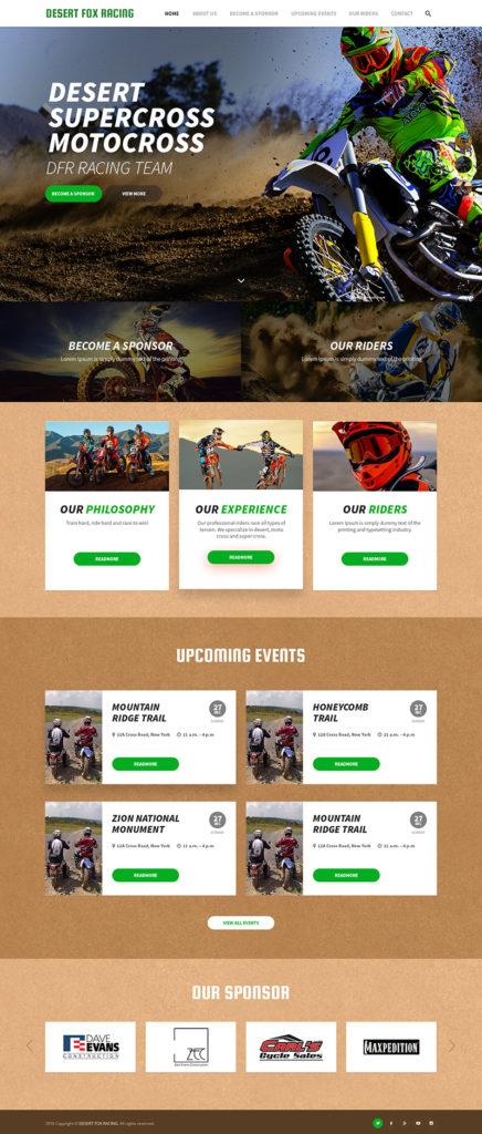 Custom Website Design for Desert Fox Racing