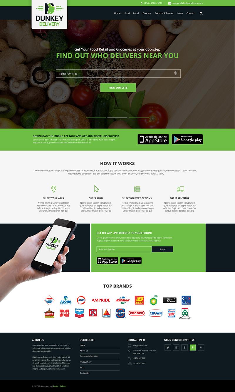 Custom Website Design for Dunkey Delivery - Logo Design Deck