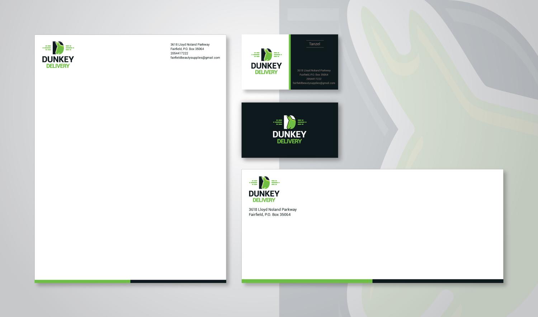 Stationery Design Template for Dunkey Delivery - Logo Design Deck