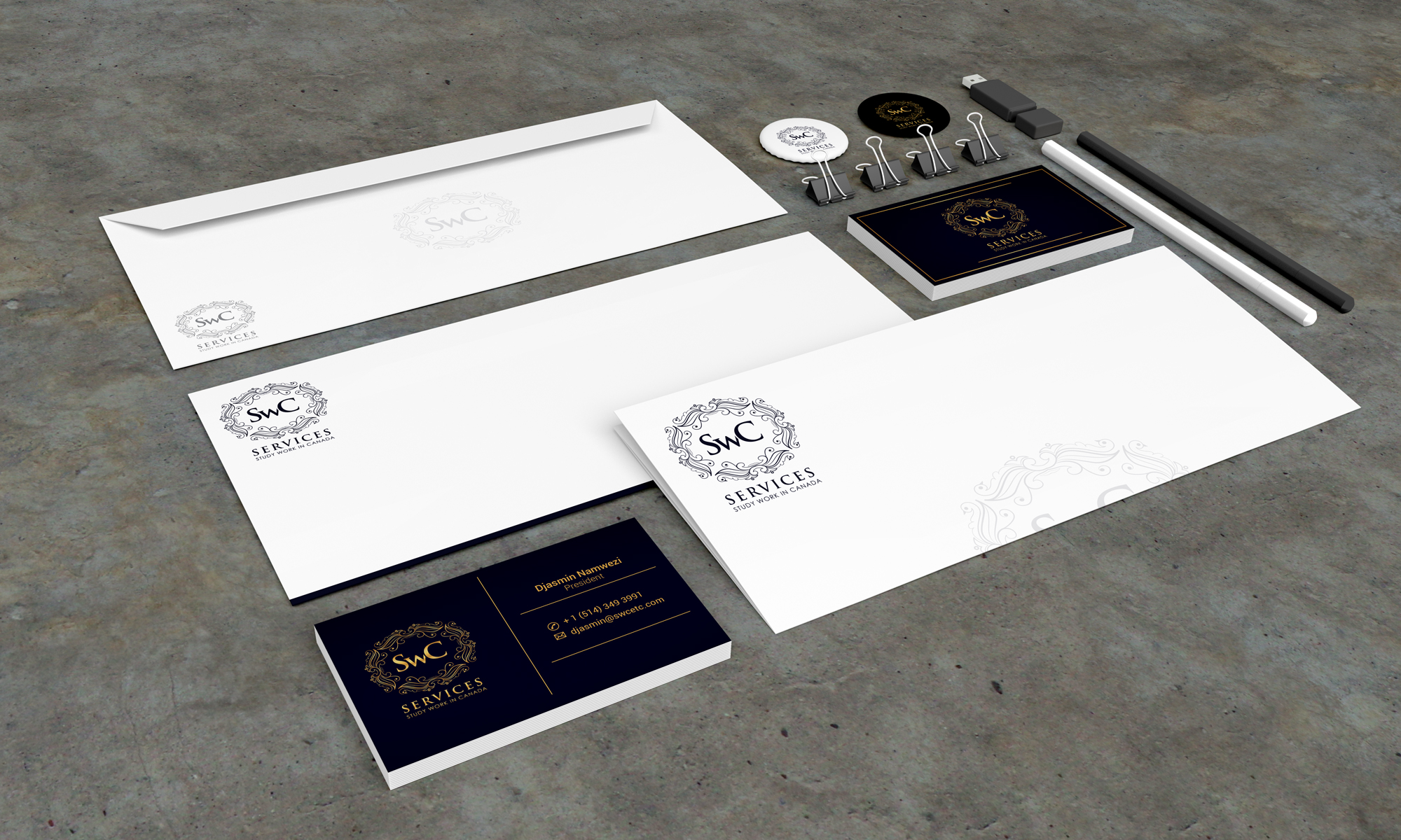Stationery Design Template for SWC Services - Logo Design Deck