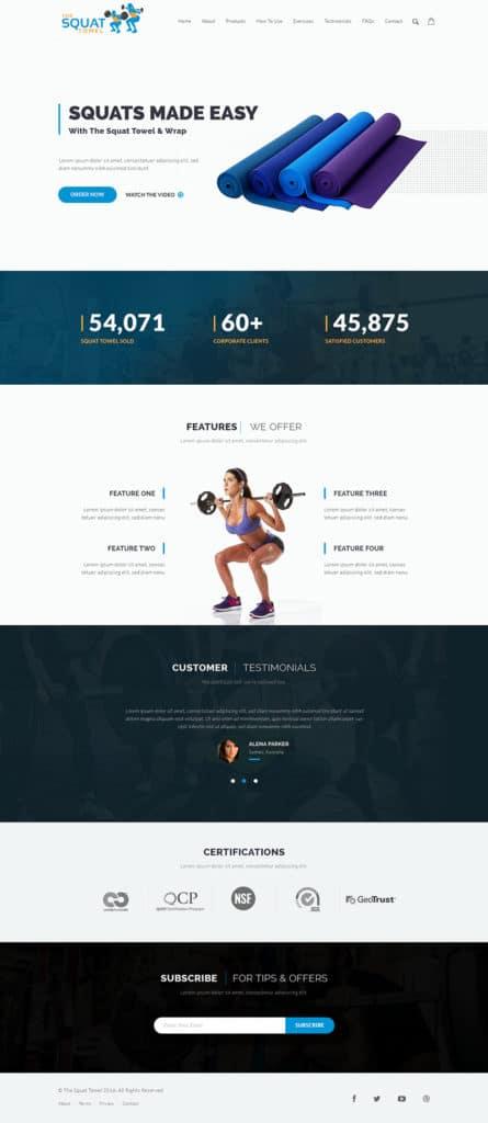 Custom Website Design for The Squat Towel